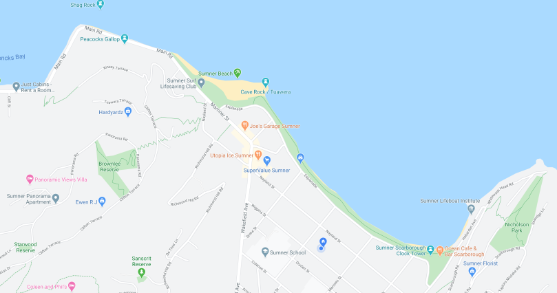 Map of Sumner Coastline.